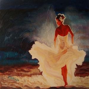 Flamenko Kadın Dansçı, Dans Eden Kadın 4 Dekoratif Kanvas Tablo