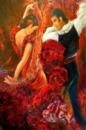 Flamenko Kadın Dansçı, Dans Eden Kadın 5 Dekoratif Kanvas Tablo