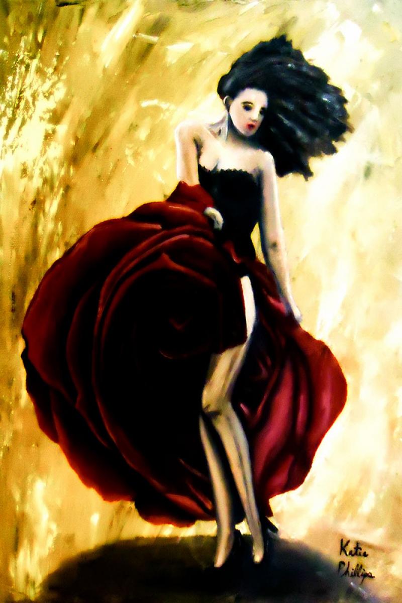 Flamenko Kadın Dansçı, Dans Eden Kadın 8 Dekoratif Kanvas Tablo
