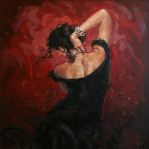 Flamenko Kadın Dansçı, Dans Eden Kadın 9 Dekoratif Kanvas Tablo