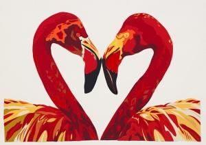 Flamingo Sarı Kırmızı Yağlı Boya Sanat Kanvas Tablo