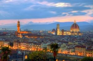 Floransa Arno Nehri Tarihi Köprü, Santa Maria Katedrali Duomo Şehir Manzarası Dünyaca Ünlü Şehirler Kanvas Tablo italya