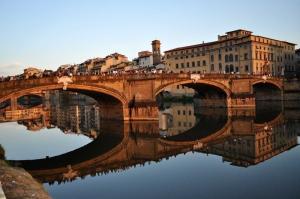 Floransa Arno Nehri Tarihi Köprü, Şehir Manzarası, Dünyaca Ünlü Şehirler Kanvas Tablo