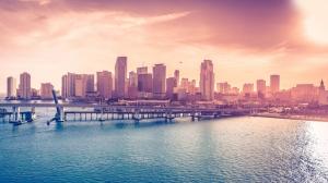 Florida Miami Gece Şehir Manzarası Dünyaca Ünlü Şehirler Kanvas Tablo