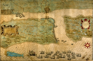 Florida Usa Amerika Sehri Eski Cizim Harita Cografya Kanvas Tablo