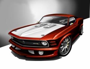 Ford Mustang İllustrasyon 2 Otomobil Araçlar Kanvas Tablo