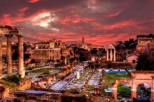 Forum Romanum Roma Tarihi Kalıntıları İtalya-30, Dünyaca Ünlü Şehirler Kanvas Tablo