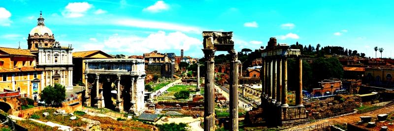 Forum Romanum Roma Tarihi Kalıntıları İtalya-57 Dünyaca Ünlü Şehirler Kanvas Tablo