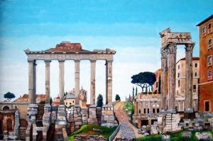 Forum Romanum Roma Tarihi Kalıntıları İtalya, Dünyaca Ünlü Şehirler Kanvas Tablo