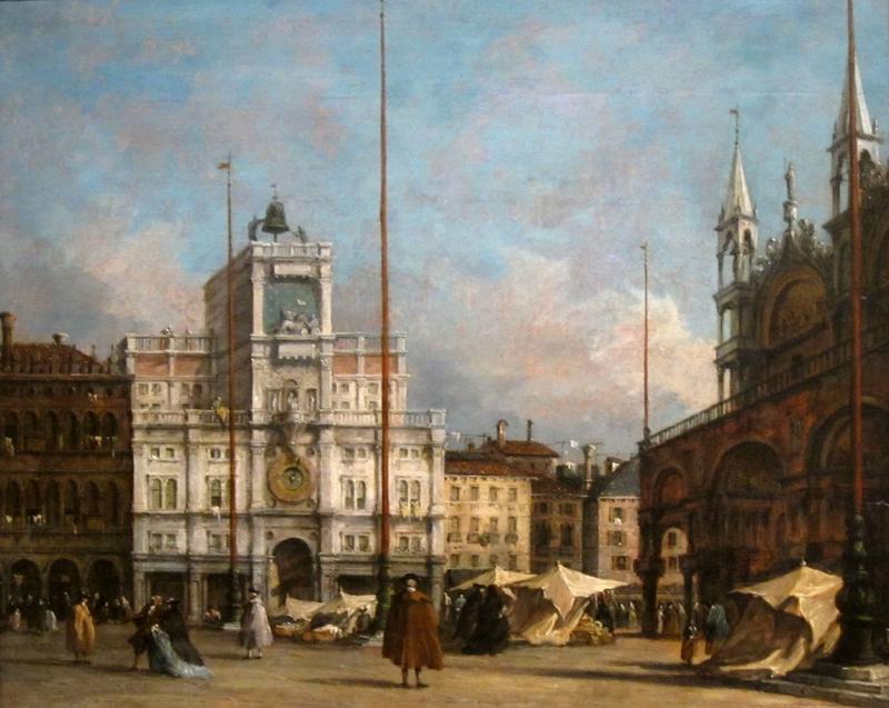 Francesco Guardi Saat Kulesi Venedik İtalya Deniz Şehir Manzaraları Yağlı BoyaKlasik Sanat Kanvas Tablo