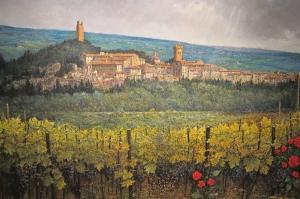 Franco Puliti Şarap Bağı Toscana Yağlı Boya Reprodüksiyon Klasik Sanat Kanvas Tablo