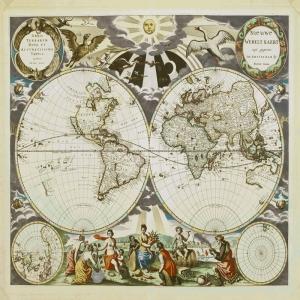 Fransız Cizimi Eski Cizim Dunya Haritasi Cografya Canvas Tablo