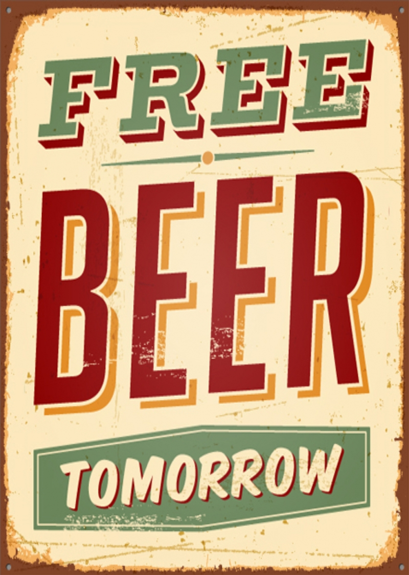 Free Beer Tomorrow Retro & Motto Kanvas Tablo