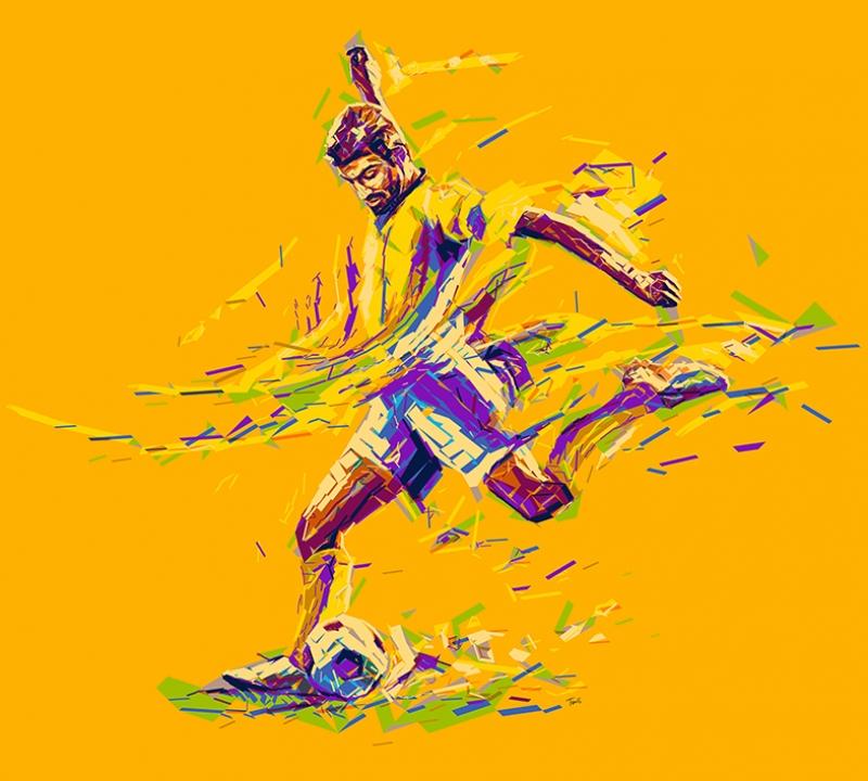 Futbol İllustrasyon Çizim Spor Kanvas Tablo
