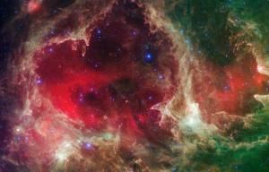 Galaksi Yeşil Kırmızı Kanvas Tablo