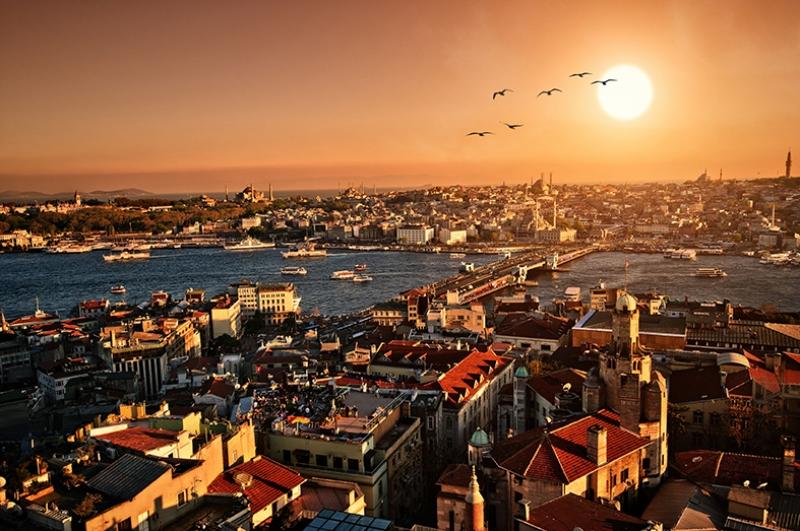 Galata Gün Batımı Dünyaca Ünlü Şehirler Kanvas Tablo