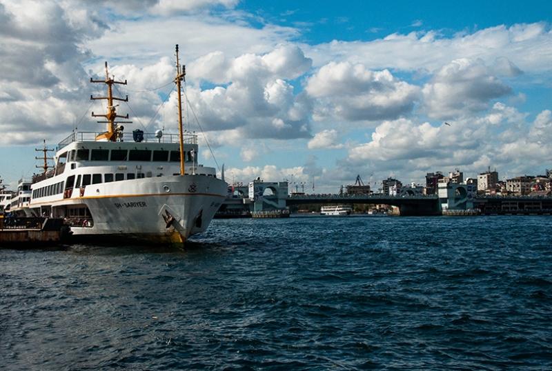 Galata Köprüsü Vapur Boğaz Dünyaca Ünlü Şehirler Kanvas Tablo