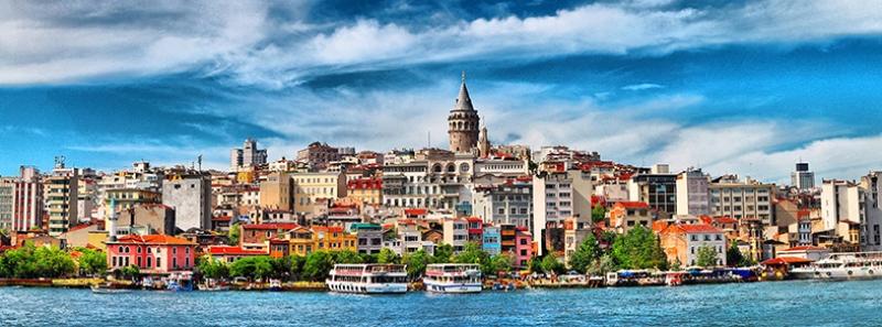 Galata Panaromik Dünyaca Ünlü Şehirler Kanvas Tablo