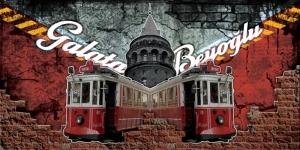 Galata ve Beyoğlu Tramvay İstanbul Unique Kanvas Tablo