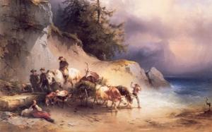 Gauermann Heimkehr Sahil Kıyısı Yağlı Boya Klasik Sanat Kanvas Tablo