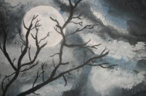 Gece Yarısı Dolunay Yağlı Boya Sanat Kanvas Tablo