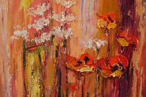 Gelincik 1 Çiçekler Yağlı Boya Floral Sanat Kanvas Tablo