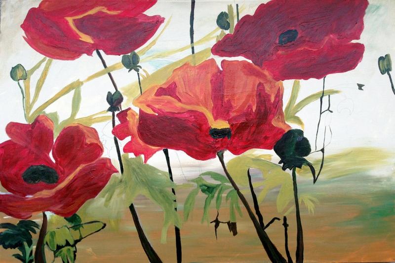 Gelincik 10 Çiçekler Yağlı Boya Floral Sanat Kanvas Tablo