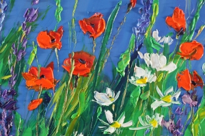 Gelincik 11 Çiçekler Yağlı Boya Floral Sanat Kanvas Tablo