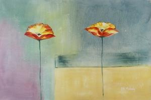 Gelincik 12 Çiçekler Yağlı Boya Floral Sanat Kanvas Tablo