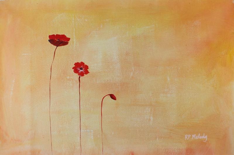 Gelincik 13 Çiçekler Yağlı Boya Floral Sanat Kanvas Tablo
