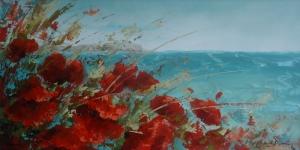 Gelincik 19 Çiçekler Deniz Yağlı Boya Floral Sanat Kanvas Tablo