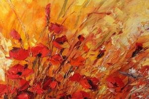 Gelincik 2 Çiçekler Yağlı Boya Floral Sanat Kanvas Tablo