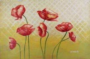 Gelincik 3 Çiçekler Yağlı Boya Floral Sanat Kanvas Tablo