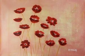 Gelincik 4 Çiçekler Yağlı Boya Floral Sanat Kanvas Tablo