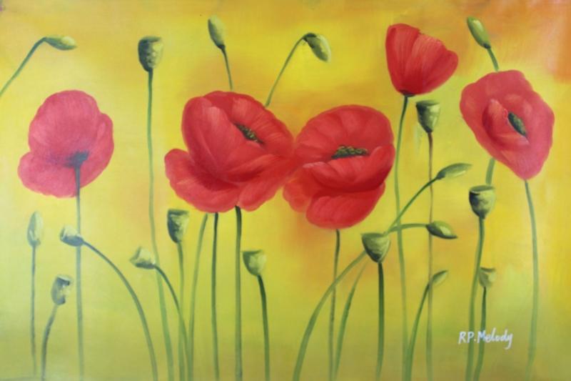 Gelincik 5 Çiçekler Yağlı Boya Floral Sanat Kanvas Tablo