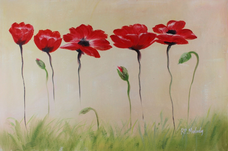 Gelincik 6 Çiçekler Yağlı Boya Floral Sanat Kanvas Tablo