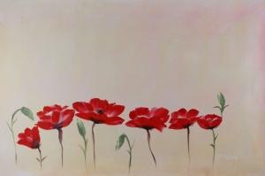 Gelincik 7 Çiçekler Yağlı Boya Floral Sanat Kanvas Tablo