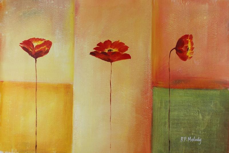 Gelincik 8 Çiçekler Yağlı Boya Floral Sanat Kanvas Tablo