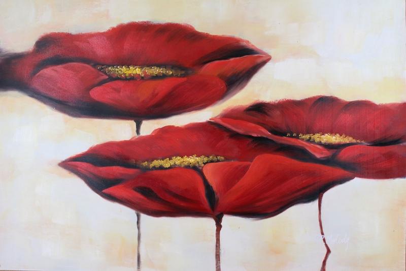 Gelincik 9 Çiçekler Yağlı Boya Floral Sanat Kanvas Tablo