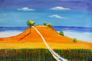 Gelincik Ve Deniz Yağlı Boya Sanat Kanvas Tablo