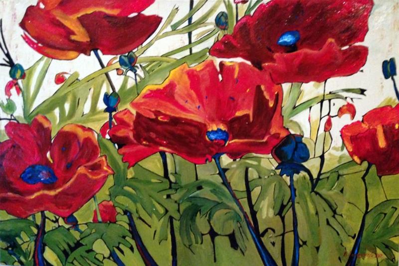 Gelincikler 1 Renkli Çiçekler Yağlı Boya Sanat Kanvas Tablo