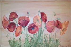 Gelincikler 2 Renkli Çiçekler Yağlı Boya Sanat Kanvas Tablo