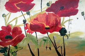 Gelincikler 3 Renkli Çiçekler Yağlı Boya Sanat Kanvas Tablo