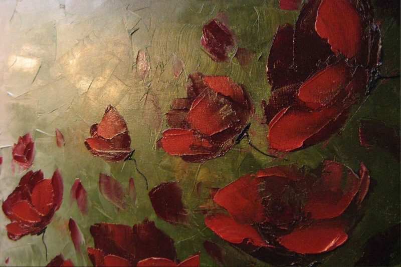 Gelincikler 5 Renkli Çiçekler Yağlı Boya Sanat Kanvas Tablo