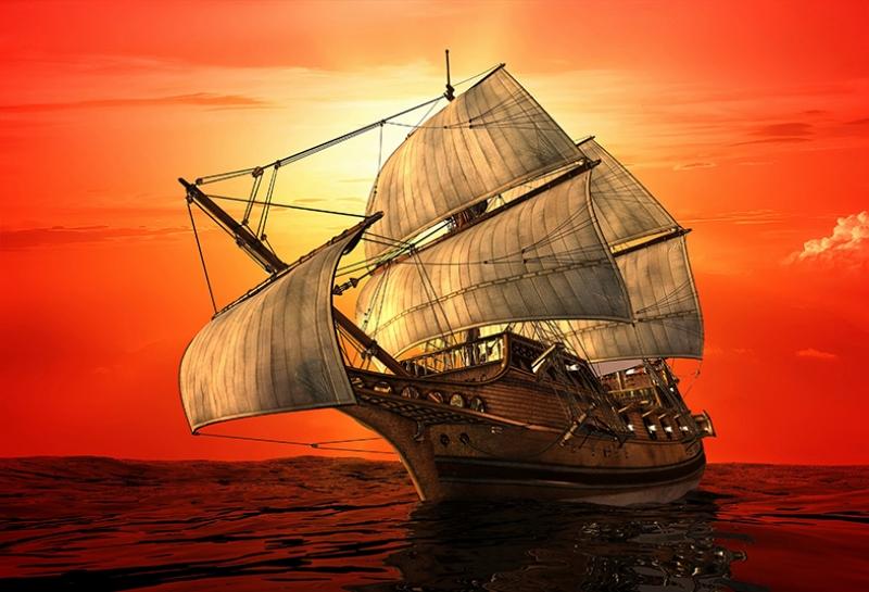 Gemi Yelkenli Gün Batımı Yağlı Boya Sanat Kanvas Tablo