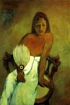 Genç Kız Jeune Fille A L E Ventail-1902 Paul Gauguin Reproduksiyon Kanvas Tablo