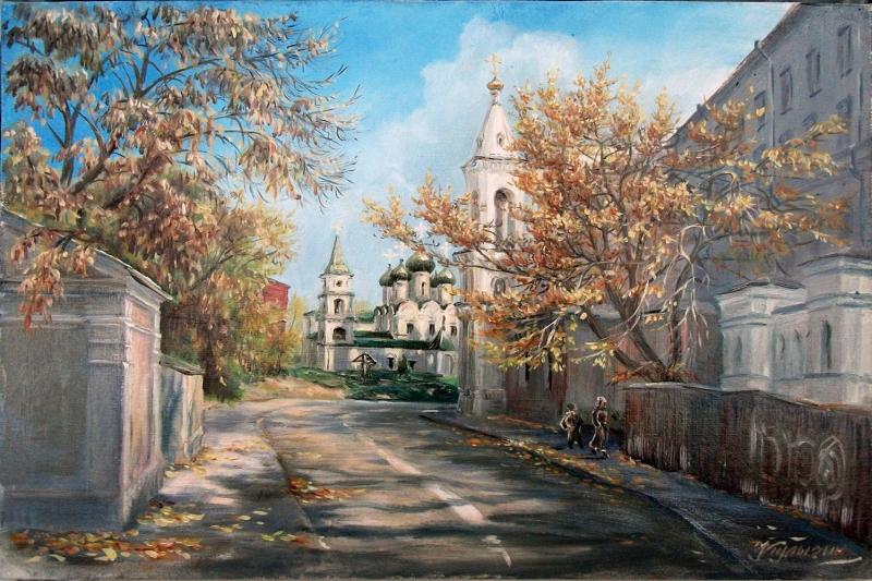 Geniş Moskova Sokakları Köy Manzarası Rusya Yaglı Boya Sanat Kanvas Tablo