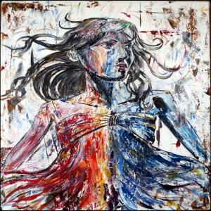 Gerçek Renkler, Bayan Portre Dekoratif Kanvas Tablo