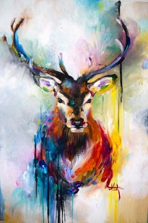 Geyik-1 Hayvanlar Modern Sanat Kanvas Tablo