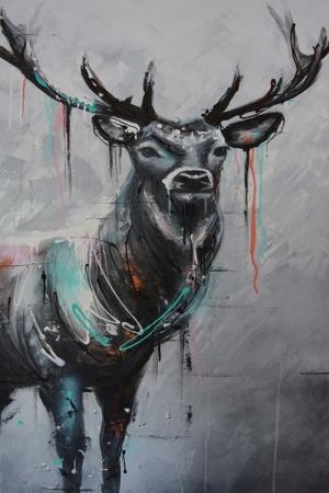 Geyik-10 Hayvanlar Modern Sanat Kanvas Tablo